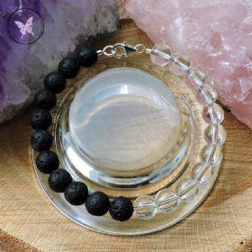 Lava Stone & Clear Quartz Healing Bracelet